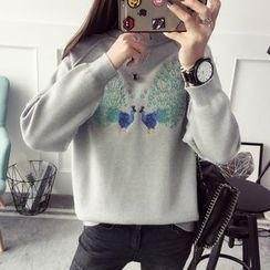 Qimi - 孔雀刺绣毛衣