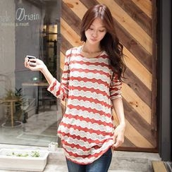 OrangeBear - Ruched-Side Striped Knit Tunic