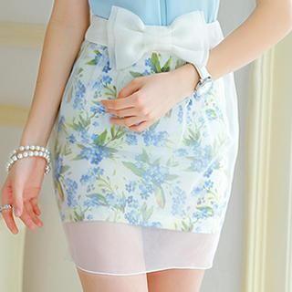 Dabuwawa - Bow-Accent Tulle-Overlay Skirt