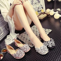 Ginko - Faux-Leather Jeweled Flats