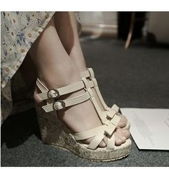 Freesia - Bow Accent Wedge Sandals