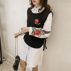 lilygirl - Set: Floral Embroidered Long-Sleeve Shirtdress + Vest