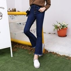 Jeans Kingdom - Frayed Boot Cut Jeans