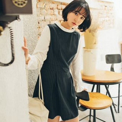 11.STREET - Long-Sleeve Color Block Striped Dress