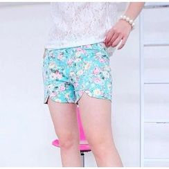 59 Seconds - Floral Print Shorts with Belt