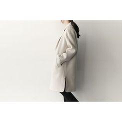 UPTOWNHOLIC - Zip-Side Wool Blend Coat