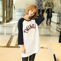 clicknme - Raglan-Sleeve Lettering T-Shirt