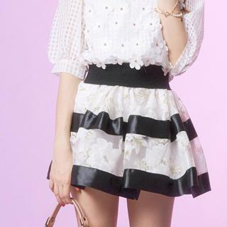 Tokyo Fashion - Elasticized-Waist Striped Sheer Floral Skirt