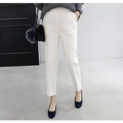 Miamasvin - Banded-Waist Seam-Front Pants
