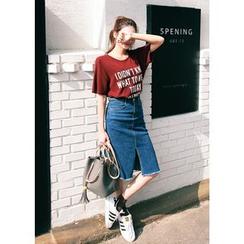 J-ANN - Fray-Hem Slit-Detail Denim Skirt