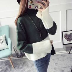TIMI - Color Block Bell-Sleeve Sweater