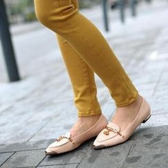 SO Central - Faux Snakeskin Metal Accent Flats