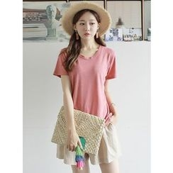 BBAEBBAE - Round-Neck Mélange Linen Blend T-Shirt