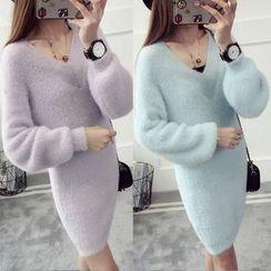 Maple Fair - 直筒毛毛針織連衣裙