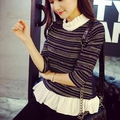 QZ Lady - Inset Frill Blouse Elbow-Sleeve Top