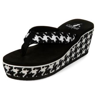 yeswalker - Houndstooth Platform Flip Flops