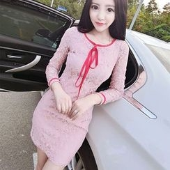 Neon Nite - Lace Long-Sleeve Sheath Dress