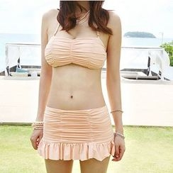 DJ Design - Set: Ruched Bikini + Cover-Up Skirt