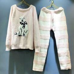 Snorie - Pajama Set: Polar Bear Print Long Sleeve Top + Striped Pants