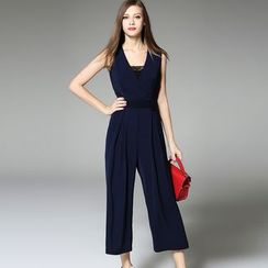 Y:Q - Plain V-Neck Jumpsuit