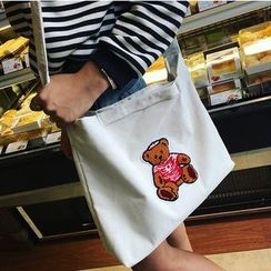 Youme - Bear Applique Corduroy Crossbody Bag