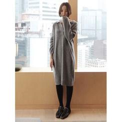 maybe-baby - Open-Placket Wool Blend Knit Dress