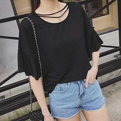 Fashion Street - Star Pendent Frill Trim Short Sleeve T-Shirt
