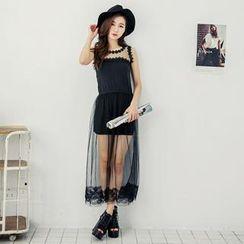 Tokyo Fashion - Tulle-Overlay Striped Tank Dress