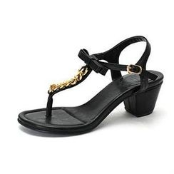 MODELSIS - Chain-Accent Chunky-Heel Thong Sandals
