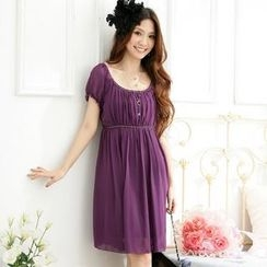 JK2 - Shirred Empire Chiffon Dress