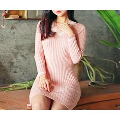 HOTPING - V-Neck Ribbed Knit Dress