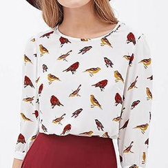 Richcoco - Bird Print Elbow-Sleeve Chiffon Blouse