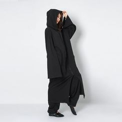 FASHION DIVA - Wide-Sleeve Cotton Maxi Hoodie