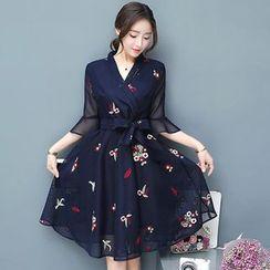 Yumerakka - Embroidered Bell-Sleeve A-Line Dress