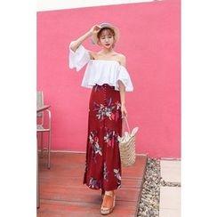 PPGIRL - Set: Off-Shoulder A-Line Top + Floral Print A-Line Skirt