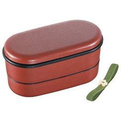 Skater - Japanese Style Mokume Oval 2 Layer Lunch Box (with Chopsticks) (Red)