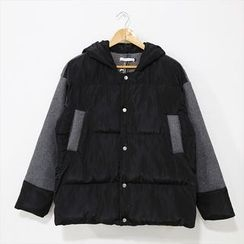 Mr. Cai - Paneled Hooded Padded Buttoned Jacket