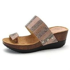 MODELSIS - Genuine Leather Toe-Loop Glittered Mules