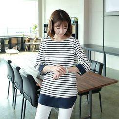 CLICK - 3/4-Sleeve Stripe T-Shirt