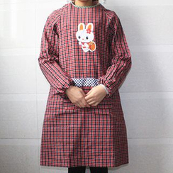 Evora - Rabbit Plaid Long-Sleeve Apron