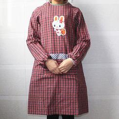 Evora - 小兔格子長袖圍裙