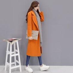 Romantica - Notched-Lapel Plain Buttoned Coat