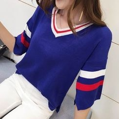 Silky Kiss - Striped Elbow Sleeve V-Neck Sweater