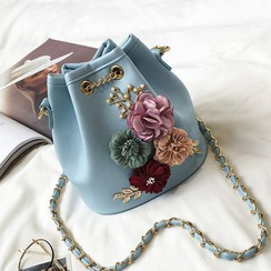 Ginadore - Flower Applique Bucket Cross Bag