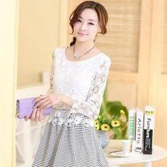AiSun - Set: 3/4 Sleeve Floral Lace Top + Printed A-Line Skirt