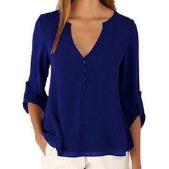 Fashion Street - Split Neck Collarless Chiffon Shirt