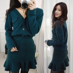 Seoul Fashion - Set: Metallic-Button Cardigan + Ruffle-Hem Mini Skirt