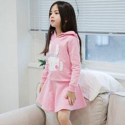 YIKASONG - Kids Set: Print Hooded Pullover + Skirt