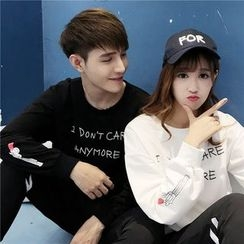 Evolu Fashion - Couple Matching Lettering Sweatshirt