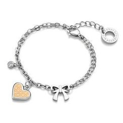 Kenny & co. - Ip Rose Gold Heart Shaped with Bow and Crystal Bracelet